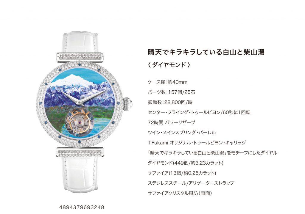 「晴天でキラキラと輝く白山と柴山潟」トゥールビヨンウォッチ ダイヤモンド版